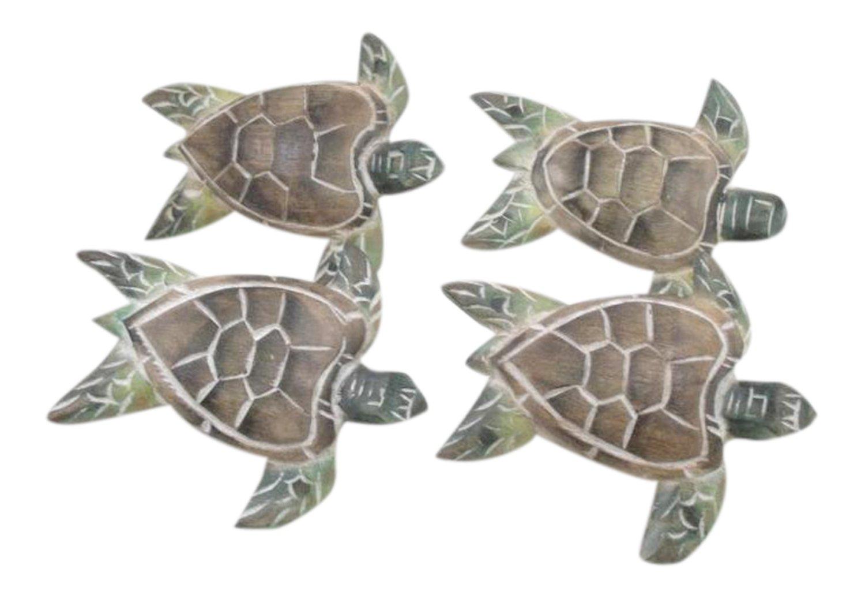 Coastal Reef Sea Turtle Carved Wooden Painted Napkin Rings Set of 4