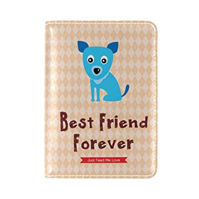 ALAZA Dog Best Friend Travel Passport Holder Cover Case Leather Passport Wallet Case