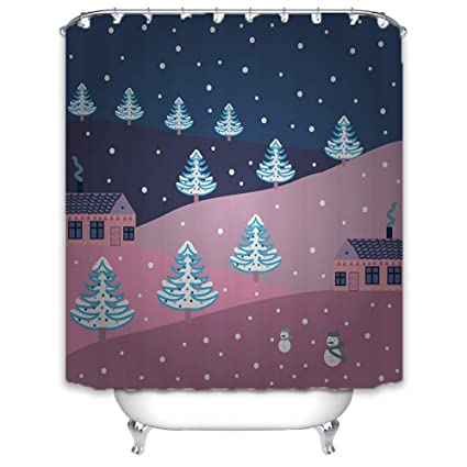 MYMYU Merry Christmas Shower Curtain Bathroom Accessories Winter Holiday Happy Snowman Xmas Decor Waterproof Polyester