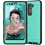 LG Stylo 2 Case, LG Stylo 2 Plus Case, CinoCase Heavy Duty Rugged Armor Protective Case Hybrid TPU Bumper Shockproof Case with Brushed Metal Texture Hard PC Back for LG Stylo 2(LS775)/Stylus 2 Mint