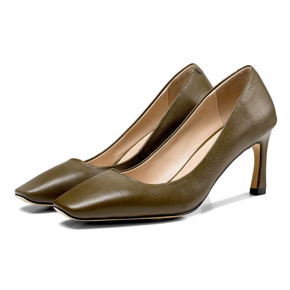 Frauen Quadratischen Kopf Lederschuhe 2019 Frühling Sommer Leder Komfortable High Heels Geprägt Gitter VieJahreszeiten Pendler Schuhe