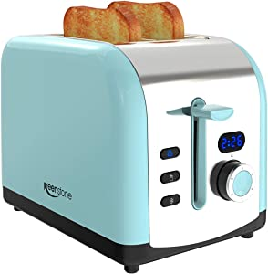 Toaster, 2-Slice Retro Toasters Stainless Steel with LED Timer Display Blue (Renewed)