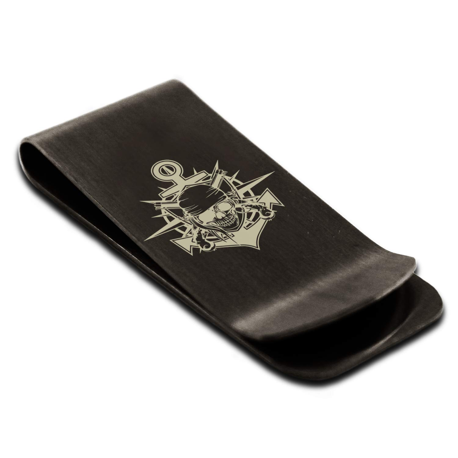 Stainless Steel Pirate Bandit Skull Anchor Engraved Money Clip Credit Card Holder