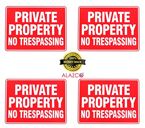 ALAZCO 8 Pack Private Property No Trespassing Sign 9 x 12 Inch - Bright Red Highly Visible Large White Letters - Land Yard Property Sign (Yard Property Sign)
