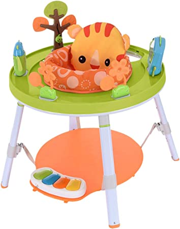 Orange 3 in 1 Baby Game Activity Center with Piano Pedal Baby 360/° Rotating Bouncy Seat Toys for 3 6 9 18 Months Infant Newborn Boy Girl Early Development Activity Center Height Adjustable