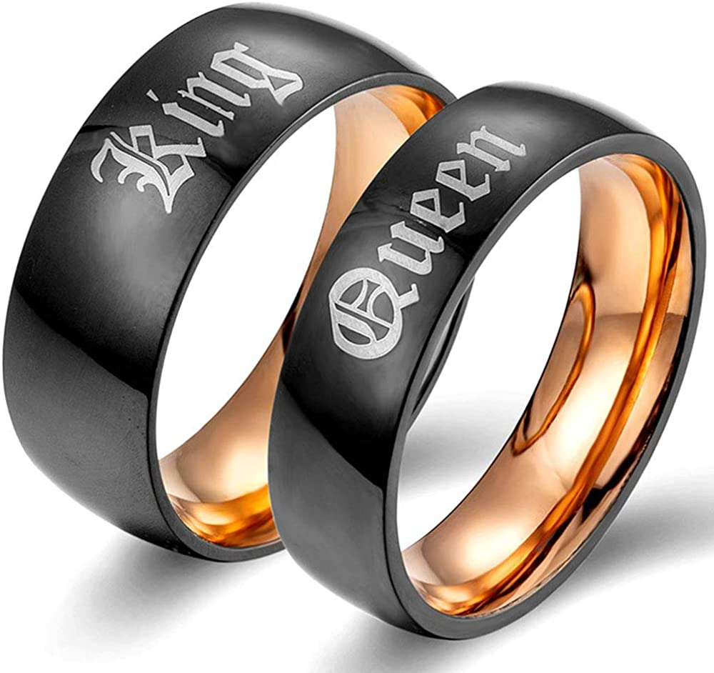 XAHH Matching Set Couple Ring King Queen Titanium Steel Black Matte Promise Wedding Band,Rose Gold[Please Buy Two Rings for one Pair]