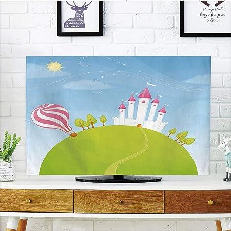 Funda para televisor LCD, diseño de animales de dibujos animados, Grunge Retro Africa Wildlife Caracteres coloridos Siluetas Savannah Fauna decorativa, multicolor, diseño de impresión 3D compatible con TV de 32 pulgadas: Amazon.es: