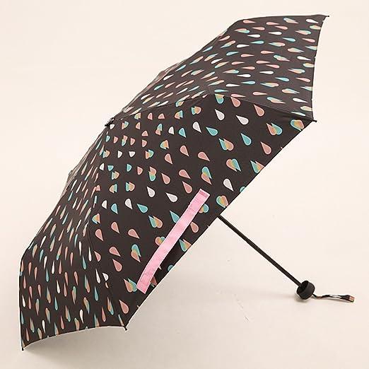 Verano Gotas de lluvia Parasol negro Parasoles de protección solar Luz portátil Cuatro paraguas plegable Parasol Parasol soleado (Color : #2) : Amazon.es: Jardín