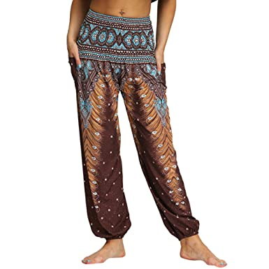 MrTom Pantalones en Capas para Mujeres Pantalones Harem Boho ...