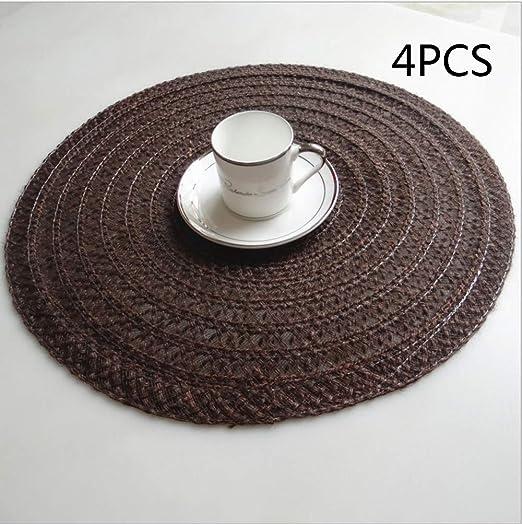 4Pcs Round Jacquard Weaved Non Slip Placemats Dining Table Place Mats Kit