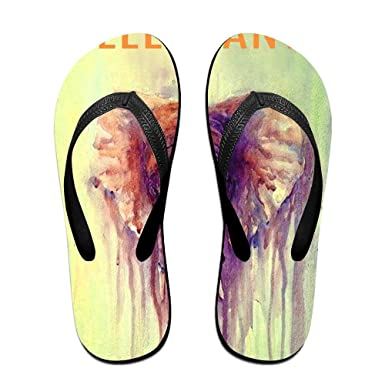 Unisex Non-slip Flip Flops Watercolor Elephant Cool Beach Slippers Sandal