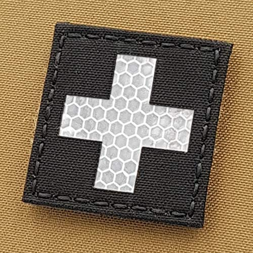 First Aid Red Cross Red Solas Reflective 2x2 IFAK MED EMS Medic Tactical Morale Fastener Patch