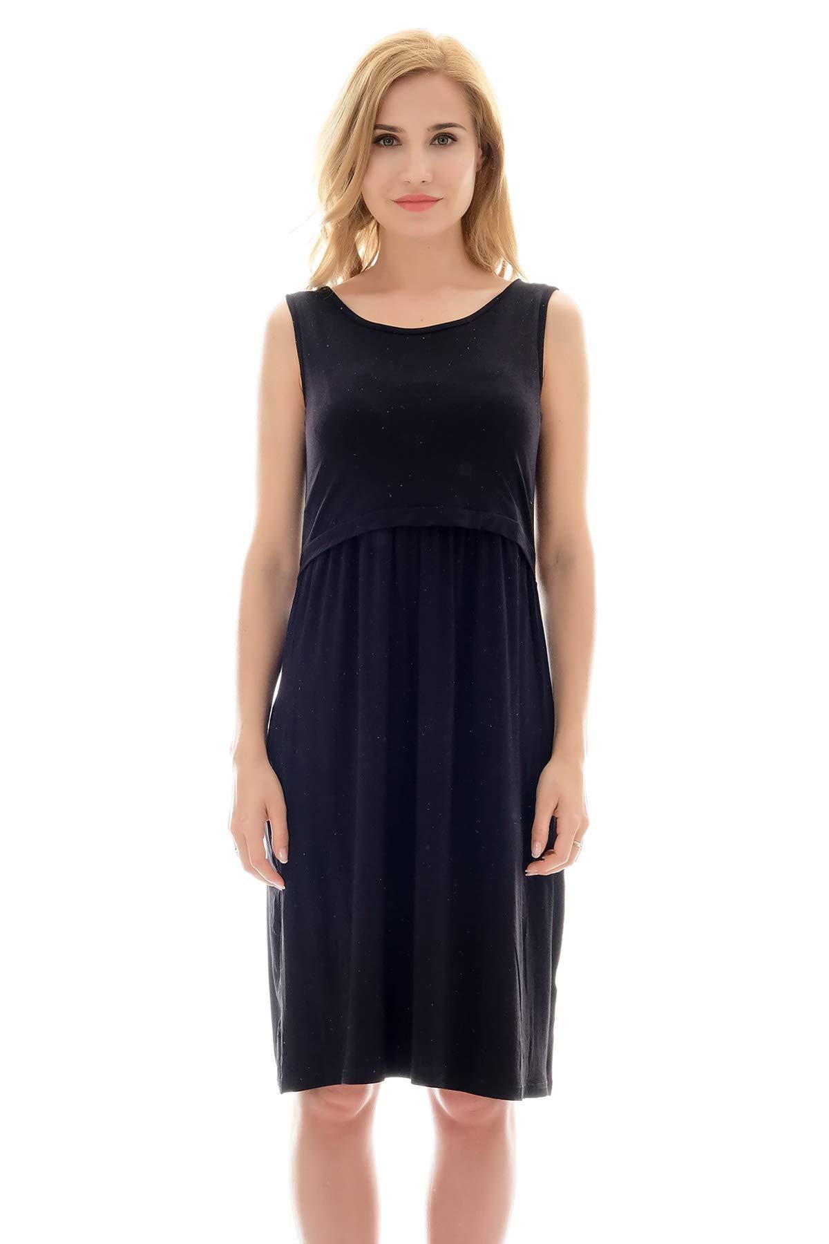 Bearsland Womens Long Sleeve Maternity Dress Nursing Breastfeeding Dress