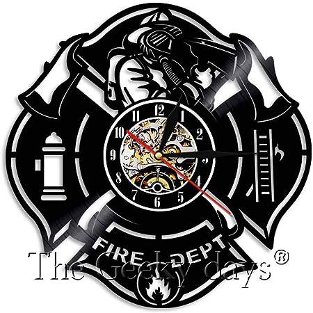 OLILEIO Firefighter Clock Fire Dept Décoration Murale