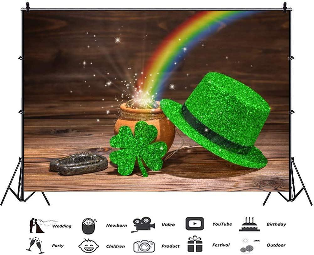 Patricks Day Backdrop for Photography Background Pot of Gold Backdrop Wood Board Rainbow Backdrop Irish Clover Backdrop Lukcy Horseshoe Holiday Festival Photo Booth Props 9x6ft Happy St