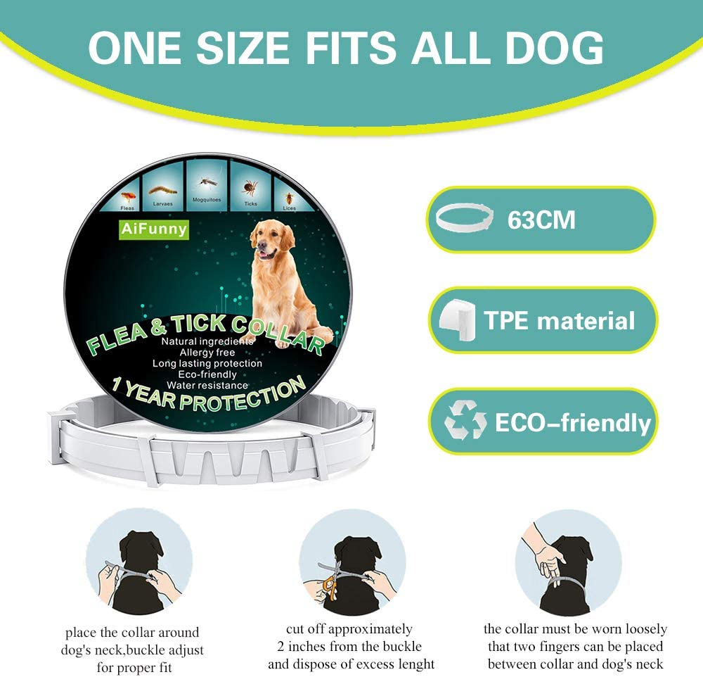 Adjustable Length of Dogs Waterproof Protection and Anti-Allergy Flea Collar Dog Flea Treatment 12 Months Protection Dog Flea and Tick Control Collar AiFunny Flea Collar for Dogs