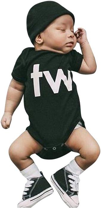 cf89fb094cdc Amazon.com  KingWo Twins Infant One Piece Bodysuit Newborn Infant ...