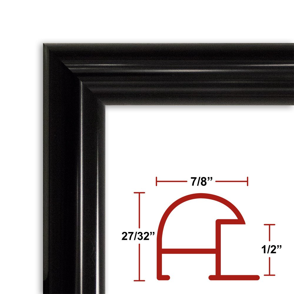 36 x 49 Shiny Black Poster Frame - Profile: #16 Custom Size Picture Frame