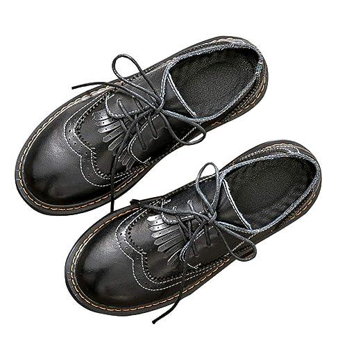 SXSHUN Mocasines Loafer para Niñas Zapatos de Cuero para Uniforme Colegio con Cordones: Amazon.es: Zapatos y complementos