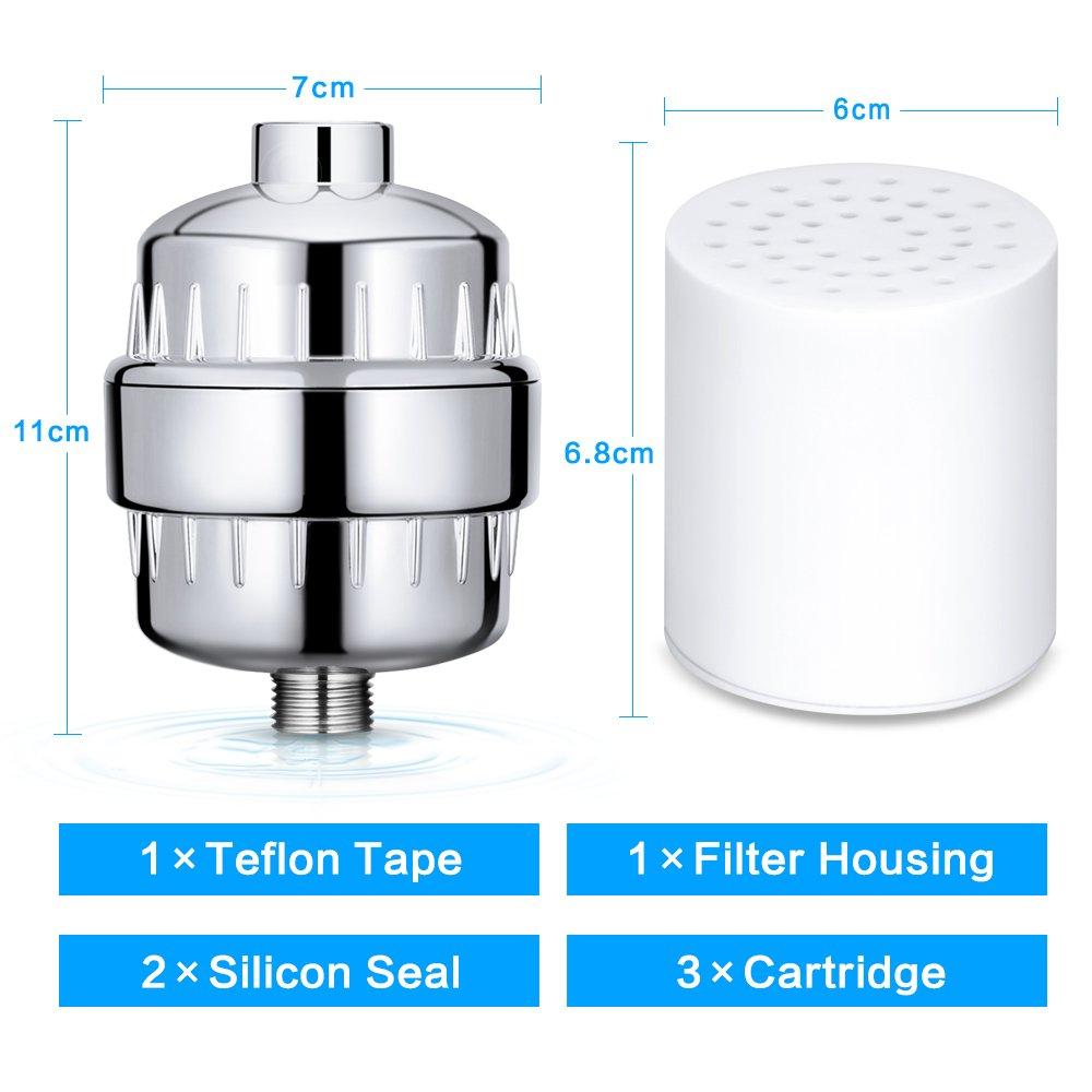 Wonyered - Filtro de ducha universal, purificador de agua de 12 etapas, eliminación exhaustiva del cloro, fácil instalación, filtro de agua de ducha ...