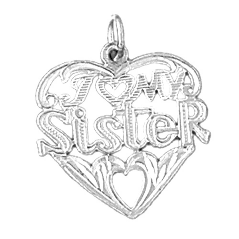Sterling Silver 925 I Love My Sister Pendant Jewels Obsession I Love My Sister Pendant 22 mm