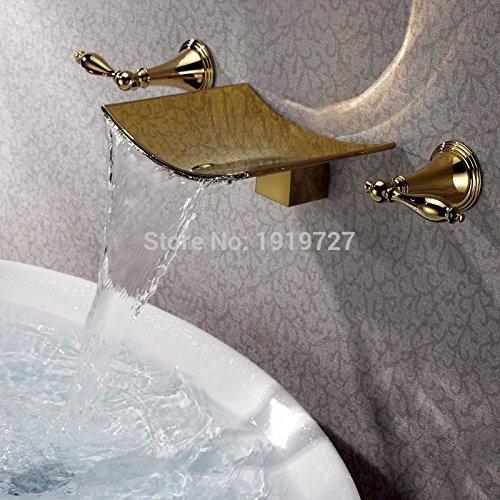 Jduskfl Kitchen Faucet Net Faucet Bathroom Faucet Gold Finish Waterfall Spout Tub Faucet Wall Mount 3 Holes Bath Mixer Tap Torneiras Banho Cozinha Water Valve Bathroom ()