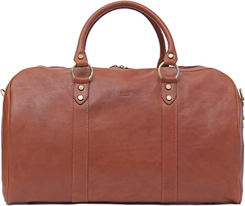 I Medici Borsone Ovale Uno Leather Carry on Duffel Bag, 20 Luggage in Matte-Brown