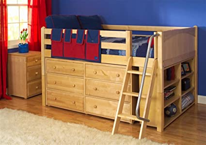 Full Sized Low Loft Bed Set W Angled Ladder