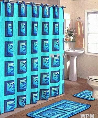 4 Piece Bath Rug Set Blue Dolphin Bathroom Rugs With Fabric Shower Curtain  And Matching Rings