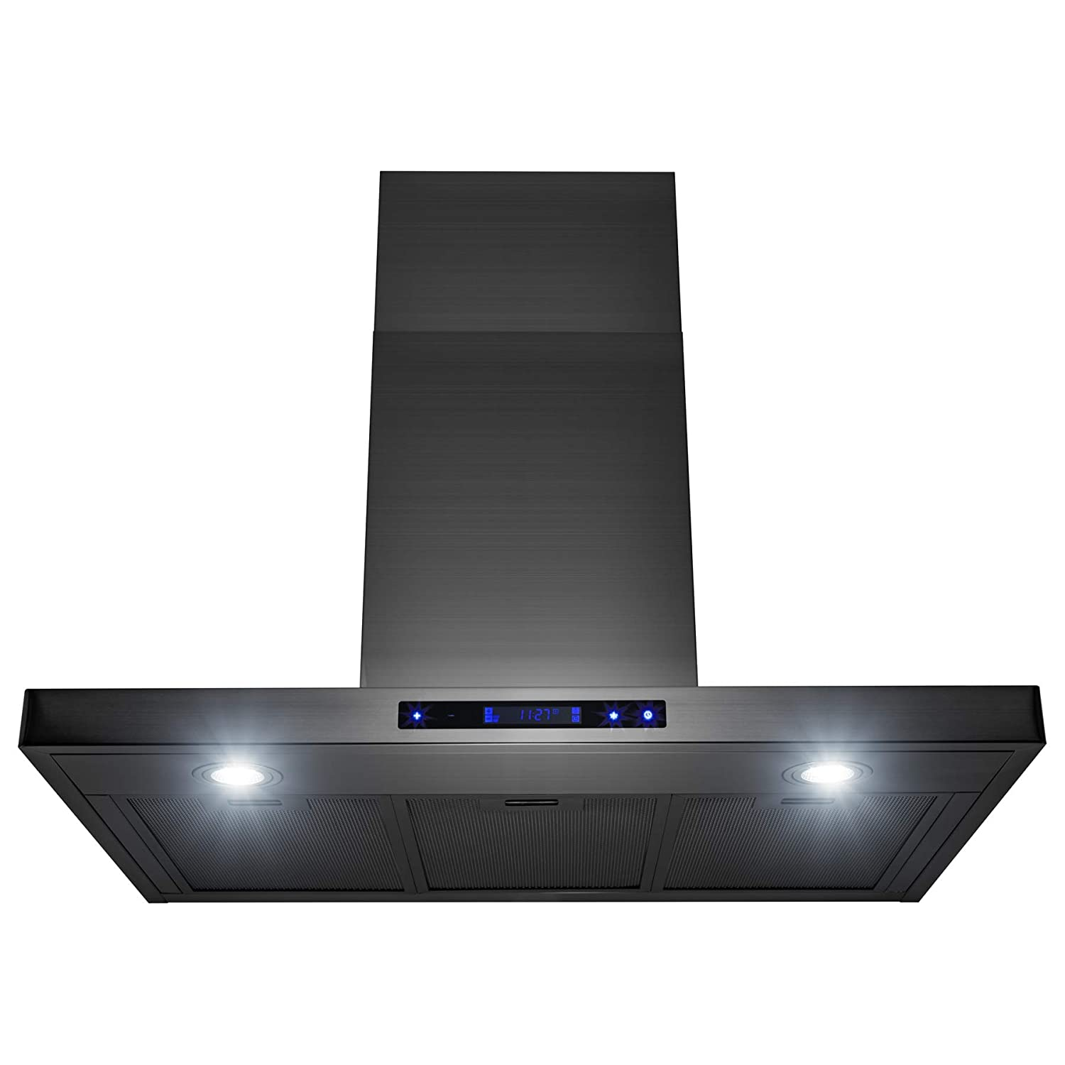 "AKDY 30"" Wall Mount Brushed Black Stainless Steel Touch Panel Kitchen Range Hood Cooking Fan"