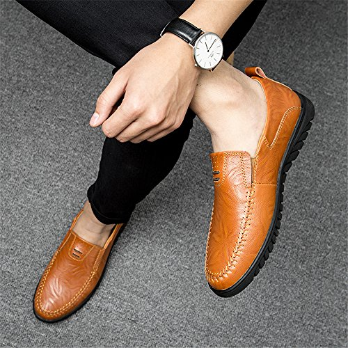 Men's Casual WaltZon Leather Shoes On Driving R Moccasins brown Loafers Slip AOqqd