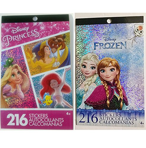 Disney Princess and Frozen (Elsa, Anna, Olaf, and Kristoff) Sticker Pad Set (432 Stickers total)