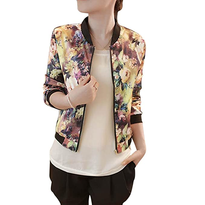BCDshop Women Floral Printed Short Bomber Jacket Fashion ...