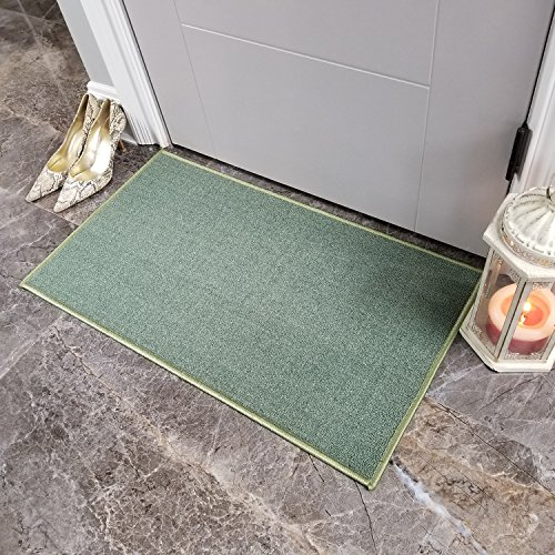 Doormat 18x30 Solid Teal Kitchen Rugs and mats | Rubber Backed Non Skid Rug Living Room Bathroom Nursery Home Decor Under Door Entryway Floor Carpet Non Slip Washable | Made in Europe