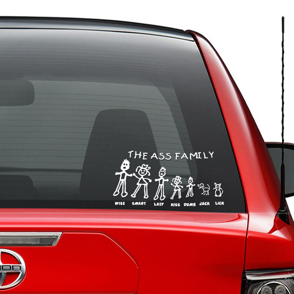 The ass family stick figure funny vinyl decal sticker car truck vehicle bumper window wall decor helmet motorcycle and more size 5 inch 13 cm wide
