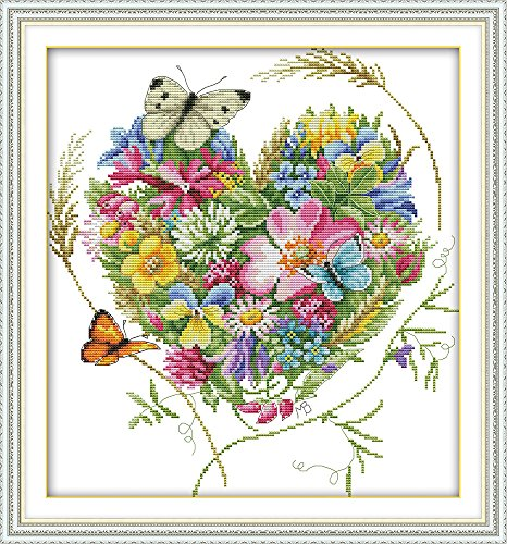 CaptainCrafts Hot New DIY Art Cross Stitch Kits Patterns Needlecrafts Counted Embroidery Kit - Butterflies Love Heart Shaped Flower (White)