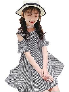 84951aa6e3bf4 Yijz子供服 ワンピース ガールズ オフショルダー チェック柄 肩開き 綿 キッズ 女の子 ドレス