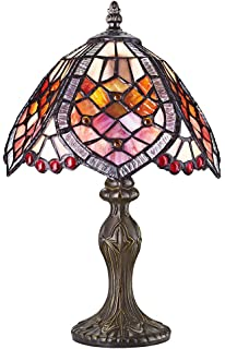 Red dragonfly tiffany table lamp with cast resin bronze base by haysoms handmade beaded stained tiffany table lamp red aloadofball Gallery