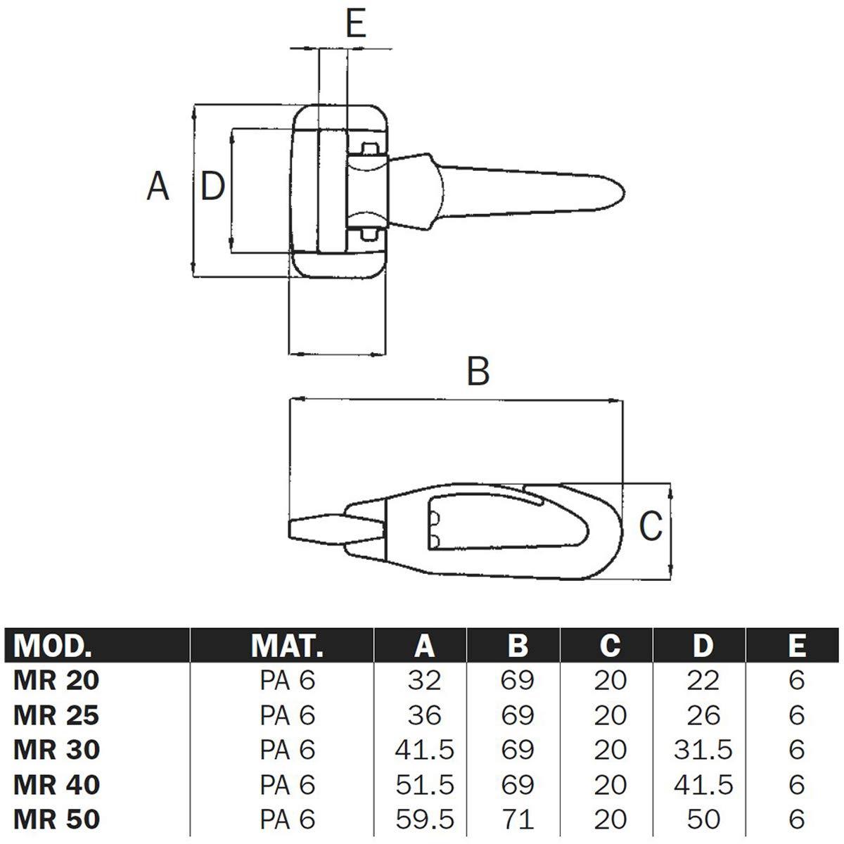 1 St/ück Taschen-Karabiner dreh-und schwenkbar aus Nylon f/ür 25mm Gurtband MR
