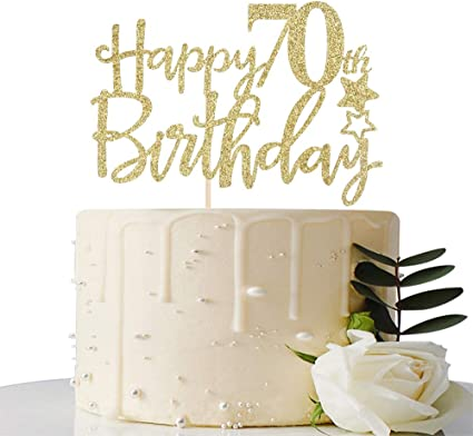 Amazing Amazon Com Gold Glitterhappy 70Th Birthday Cake Topper Hello 70 Funny Birthday Cards Online Aboleapandamsfinfo