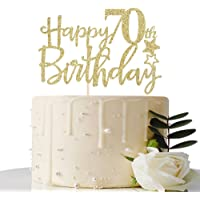 Gold Glitter Happy 70th Birthday Cake Topper,Hello 70,Cheers to 70 Years,70 & Fabulous Party Decoration
