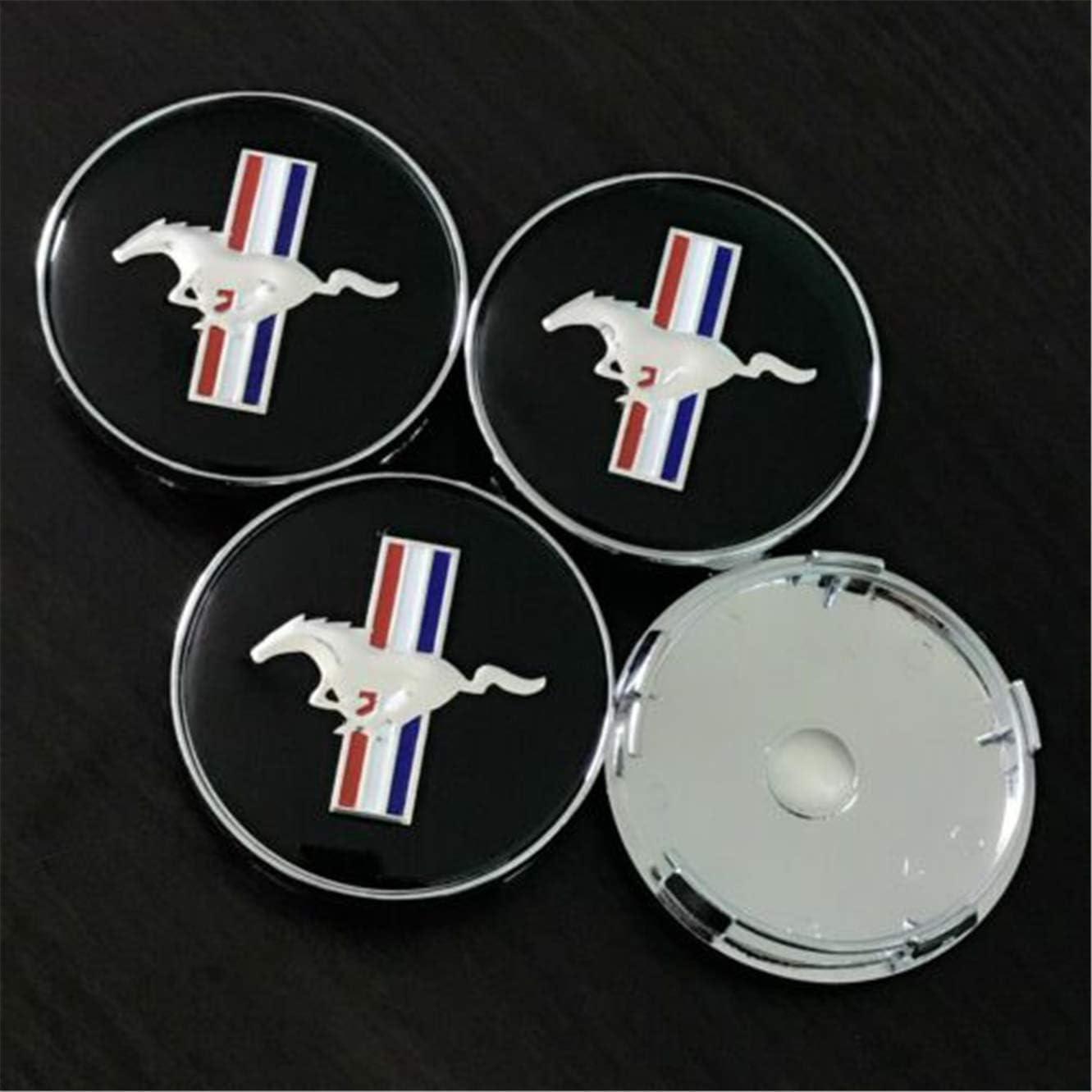 Since 4 Chapeaux de Centre de Roue Noirs pour enjoliveurs de moyeu de Jante de Cheval Mustang Cobra GT 60MM