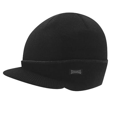 12cfdde5e6f Lonsdale Mens Peak Hat Beanie Knitted Black Mens  Amazon.co.uk ...