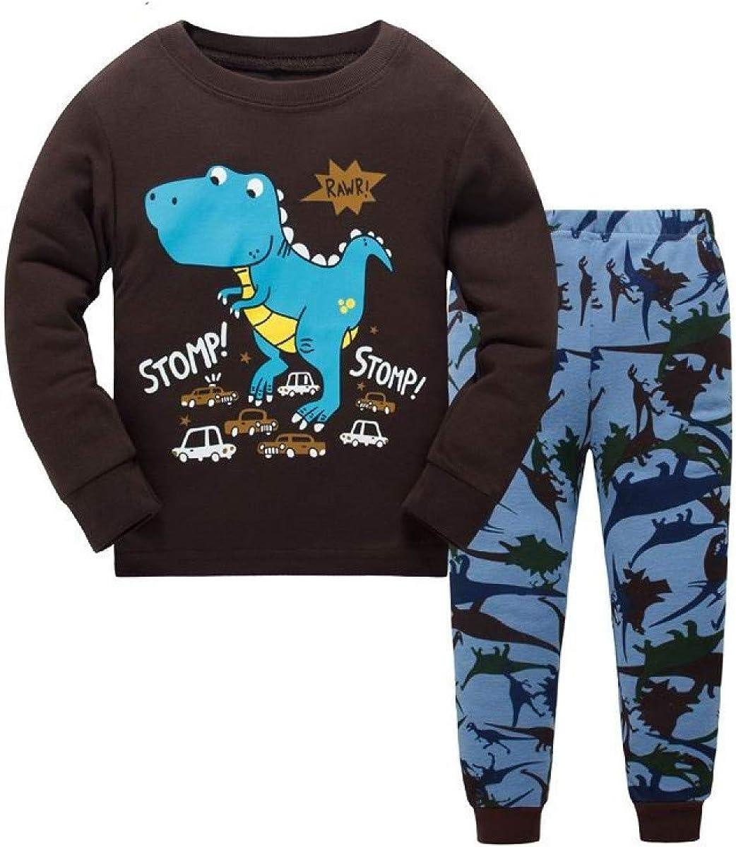 Cartoon Dinosaur Boy Pyjamas Suits Autumn Spring Night Suit Cotton Childrens Pajamas Sleepwear Kids Nightwear