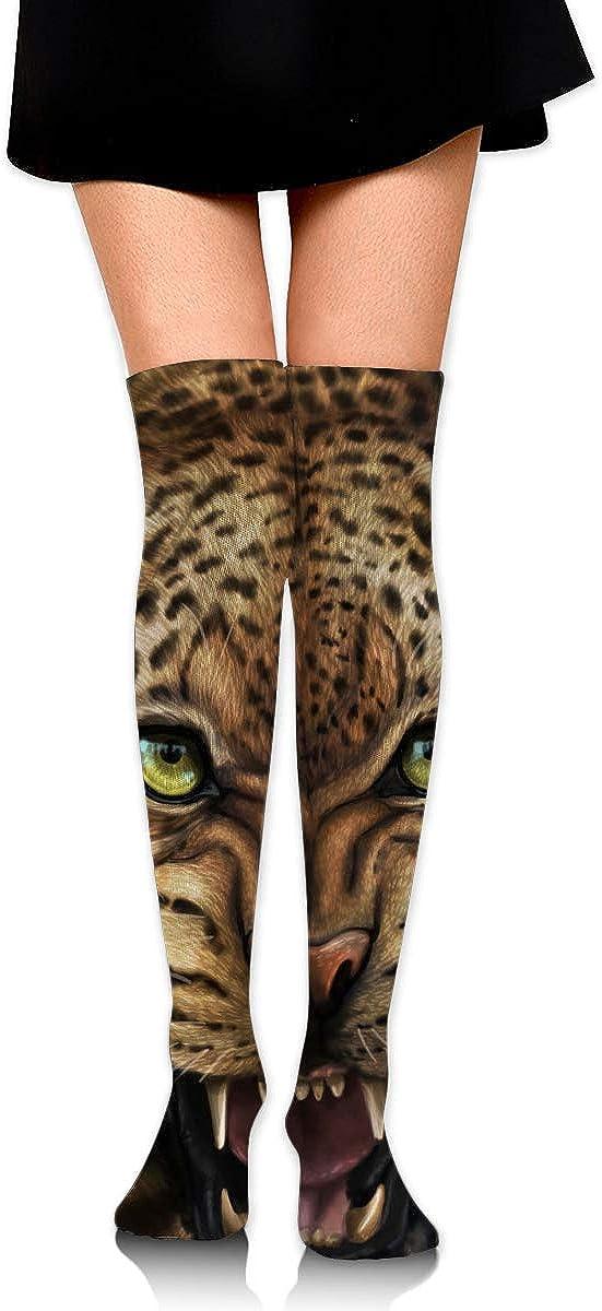 High Elasticity Girl Cotton Knee High Socks Uniform Siting Snow Leopard Women Tube Socks