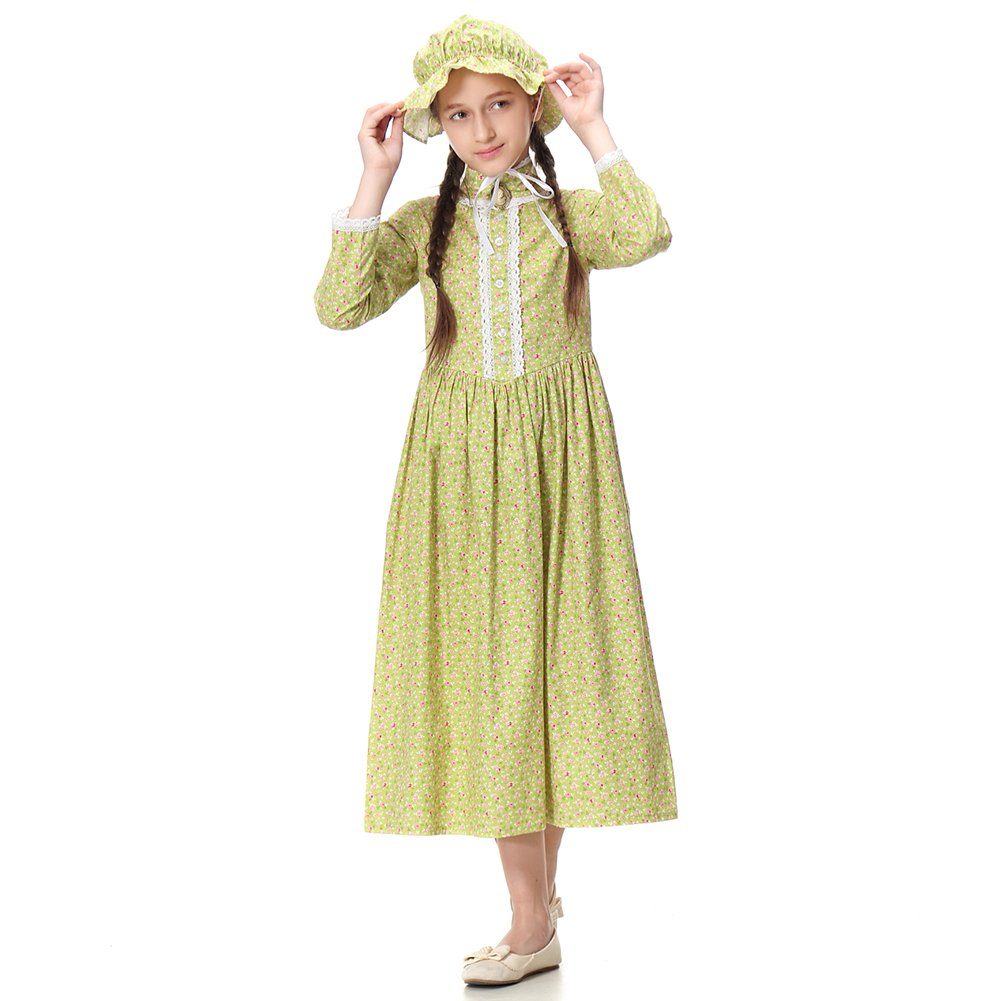 Pioneer Girl Costume Colonial Prairie Dress for Kids 100% Cotton,US14 by KOGOGO (Image #5)