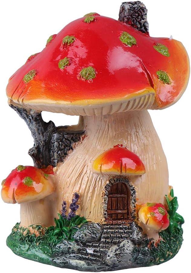 Cabilock Delicate Creative Mushroom House Model Landscaping Ornaments Miniature Micro Landscape Bonsai Fairy Garden Landscape DIY Decor - Mushroom House(Red and Yellow Edge)