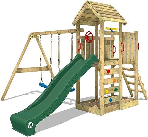 WICKEY Parque infantil de madera MultiFlyer con columpio y tobogán verde, Torre de escalada de exterior con techo, arenero y escalera para niños: Amazon.es: Bricolaje y herramientas