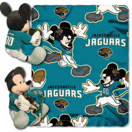 The Northwest Company Officially Licensed NFL Jacksonville Jaguars Co Disney's Mickey Hugger and Fleece Throw Blanket -