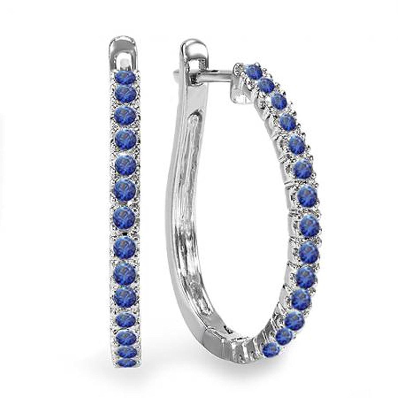 0.50 Carat (ctw) 14k White Gold Ladies Hoop Earrings 1/2 CT